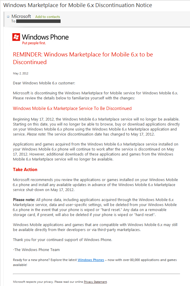 Windows Mobile is going the way of the Dodo.